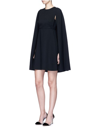 Figure View - Click To Enlarge - Valentino - Cape sleeve virgin wool crepe dress