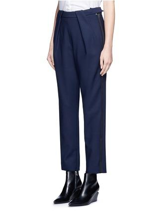 Front View - Click To Enlarge - Balenciaga - Tuxedo stripe zip cuff pants