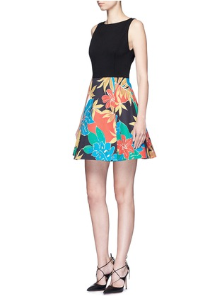 Figure View - Click To Enlarge - alice + olivia - 'Kourtney' floral print boat neck pleat dress