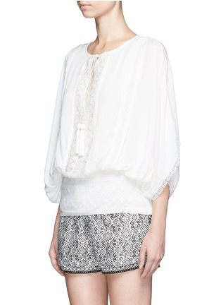 Front View - Click To Enlarge - Talitha - French lace tassel neck silk kimono top