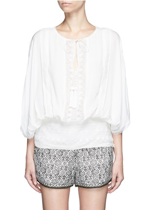 Main View - Click To Enlarge - Talitha - French lace tassel neck silk kimono top
