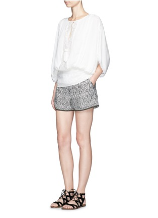 Figure View - Click To Enlarge - Talitha - French lace tassel neck silk kimono top
