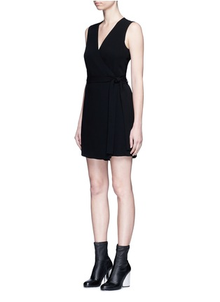 Front View - Click To Enlarge - Theory - 'Benina' surplice crepe rompers