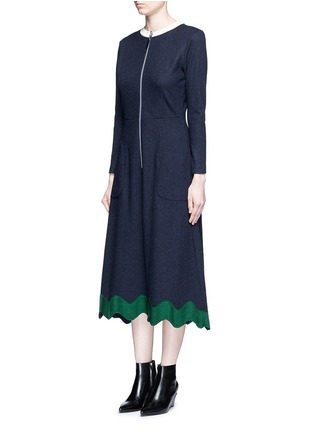 Front View - Click To Enlarge - TOGA ARCHIVES - Embroidered wavy trim zip wool dress