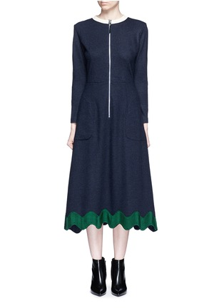Main View - Click To Enlarge - TOGA ARCHIVES - Embroidered wavy trim zip wool dress
