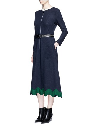 Figure View - Click To Enlarge - TOGA ARCHIVES - Embroidered wavy trim zip wool dress