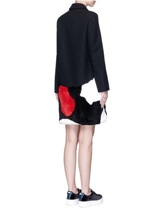 Back View - Click To Enlarge - MSGM - Patchwork rabbit fur wool blend coat