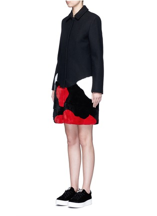 Front View - Click To Enlarge - MSGM - Patchwork rabbit fur wool blend coat