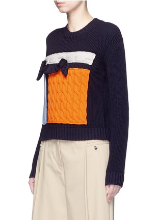 Front View - Click To Enlarge - MSGM - Collage intarsia virgin wool knit sweater
