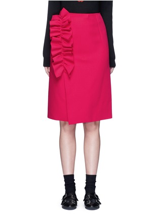 Main View - Click To Enlarge - MSGM - Slant ruffle trim wrapped skirt