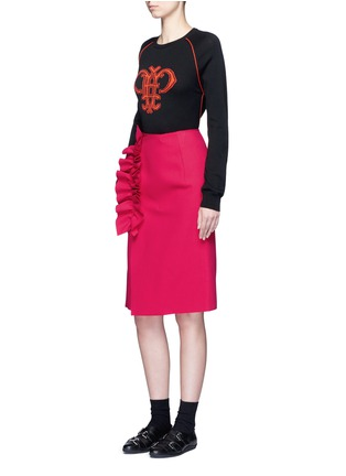 Figure View - Click To Enlarge - MSGM - Slant ruffle trim wrapped skirt