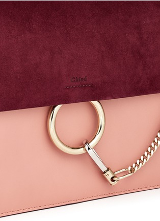 Detail View - Click To Enlarge - Chloé - 'Faye' medium colourblock suede flap leather shoulder bag