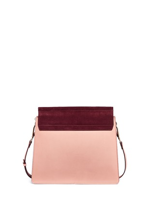 Back View - Click To Enlarge - Chloé - 'Faye' medium colourblock suede flap leather shoulder bag