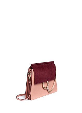 Figure View - Click To Enlarge - Chloé - 'Faye' medium colourblock suede flap leather shoulder bag