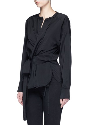 Front View - Click To Enlarge - Isabel Marant - 'Dorcey' wrap front silk-virgin wool top