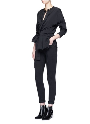 Figure View - Click To Enlarge - Isabel Marant - 'Dorcey' wrap front silk-virgin wool top