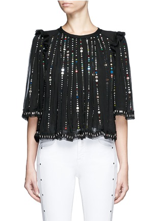Main View - Click To Enlarge - Isabel Marant - 'Fordon' sequin galaxy embroidery silk chiffon top