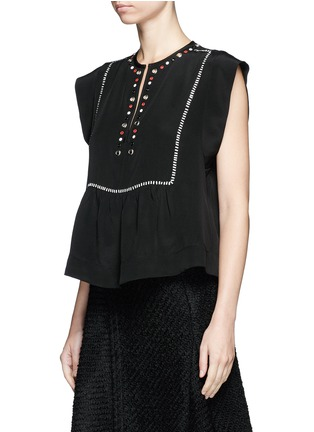 Front View - Click To Enlarge - Isabel Marant - 'Florent' eyelet embellished butterfly sleeve silk top