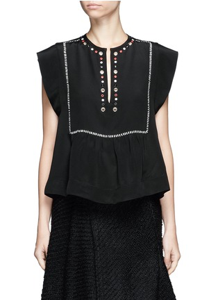 Main View - Click To Enlarge - Isabel Marant - 'Florent' eyelet embellished butterfly sleeve silk top