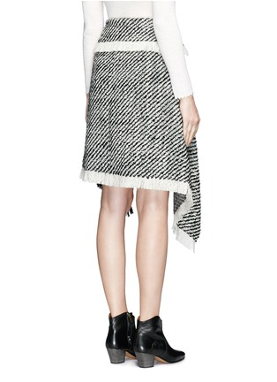 Back View - Click To Enlarge - Isabel Marant - Fringed asymmetric drape wrap tweed skirt