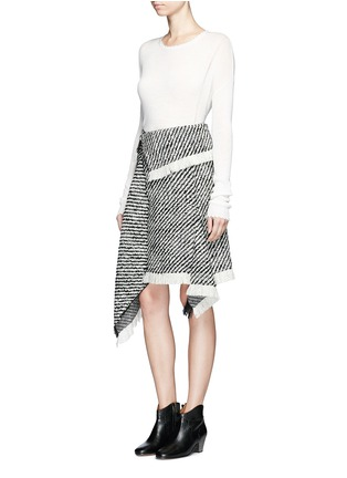 Figure View - Click To Enlarge - Isabel Marant - Fringed asymmetric drape wrap tweed skirt