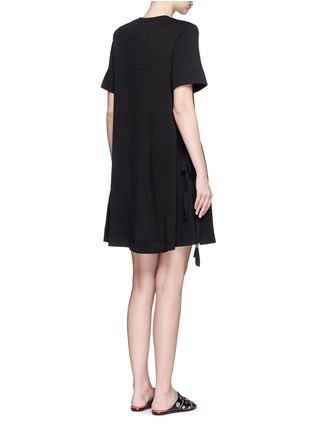 Back View - Click To Enlarge - Proenza Schouler - Side tie double faced wool-cotton jersey flared dress