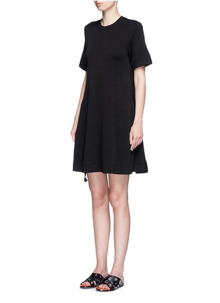 Front View - Click To Enlarge - Proenza Schouler - Side tie double faced wool-cotton jersey flared dress
