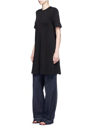 Figure View - Click To Enlarge - Proenza Schouler - Side tie double faced wool-cotton jersey flared dress