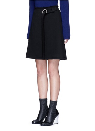 Front View - Click To Enlarge - Proenza Schouler - Frayed crepe belted skirt