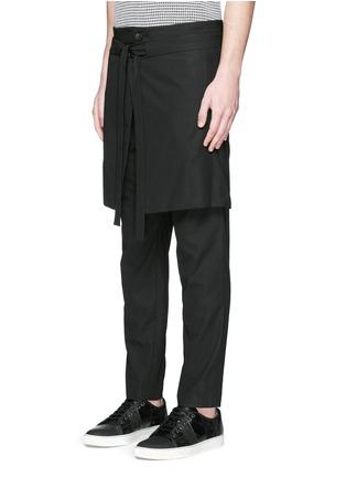 Front View - Click To Enlarge - FFIXXED STUDIOS - Skirt overlay gabardine pants
