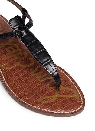 Detail View - Click To Enlarge - Sam Edelman - 'Gigi' croc embossed T-strap flat sandals