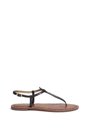 Main View - Click To Enlarge - Sam Edelman - 'Gigi' croc embossed T-strap flat sandals