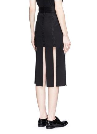 Back View - Click To Enlarge - Jinnnn - Lace stripe fringe denim skirt