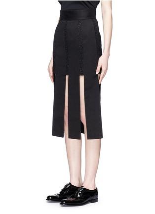 Front View - Click To Enlarge - Jinnnn - Lace stripe fringe denim skirt