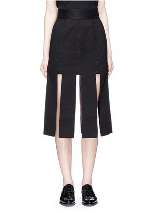 Main View - Click To Enlarge - Jinnnn - Lace stripe fringe denim skirt