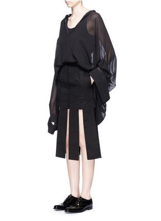 Figure View - Click To Enlarge - Jinnnn - Lace stripe fringe denim skirt