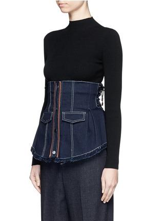 Front View - Click To Enlarge - Jinnnn - Frayed denim button-up corset belt