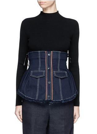 Main View - Click To Enlarge - Jinnnn - Frayed denim button-up corset belt
