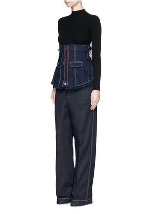 Figure View - Click To Enlarge - Jinnnn - Frayed denim button-up corset belt