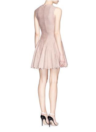 Back View - Click To Enlarge - Alaïa - 'Trigone' triangle cutout hem velour flare dress