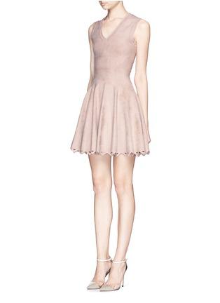 Front View - Click To Enlarge - Alaïa - 'Trigone' triangle cutout hem velour flare dress