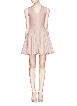 Main View - Click To Enlarge - Alaïa - 'Trigone' triangle cutout hem velour flare dress
