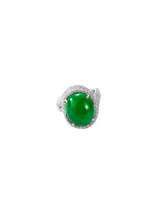 Main View - Click To Enlarge - SAMUEL KUNG - Diamond jade 18k white gold ring