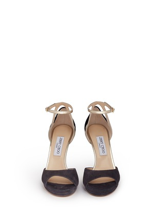 Front View - Click To Enlarge - Jimmy Choo - 'Pearl 100' mirror leather trim suede sandals