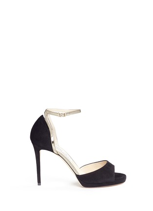 Main View - Click To Enlarge - Jimmy Choo - 'Pearl 100' mirror leather trim suede sandals