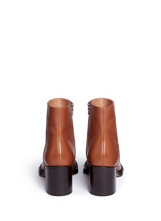 Back View - Click To Enlarge - Dries Van Noten - Chunky heel zip leather boots