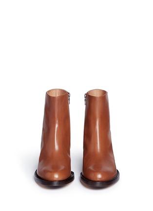 Front View - Click To Enlarge - Dries Van Noten - Chunky heel zip leather boots