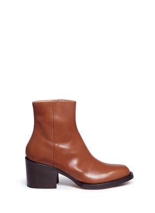 Main View - Click To Enlarge - Dries Van Noten - Chunky heel zip leather boots