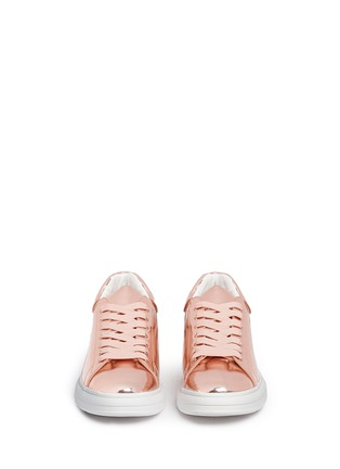 Front View - Click To Enlarge - Pedder Red - 'Lory' mirror faux leather sneakers