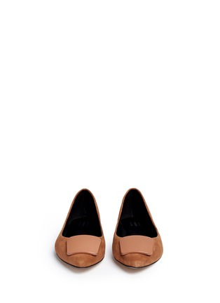 Front View - Click To Enlarge - Pedder Red - Enamel plaque suede skimmer flats